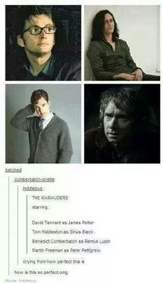 The Marauders: David Tennant as James Potter, Tom Hiddleston as Sirius Black, Benedict Cumberbatch as Remus Lupin and Martin Freeman as Peter Pettigrew! Though it's sad because at the age the actors are now, their characters are dead Saga Harry Potter, Harry Potter Memes, James Potter, Potter Facts, Hogwarts, Fandoms Unite, Johnlock, Drarry, Jily