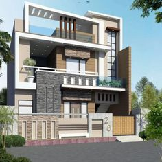 Vorderansicht Source by Indian Home Design, Independent House, House Outer Design, Modern House Design, Model House Plan, New House Plans, Latest House Designs, Cool House Designs, House Elevation