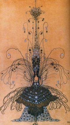 Leon Bakst drawing for Queen of the Night costume, 1922