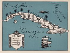 Charming CUBA Map WHIMSICAL Vintage 1940s Picture by plaindealing