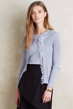 Ribbed Lace Cardigan #anthropologie..you could add an edging of trim to a golf cardigan.