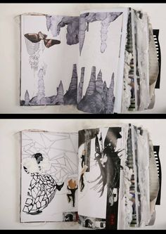Love the monochromatic journal page, with collage, design and doodles.