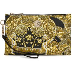 Versace Barocco-print Nylon Pouch ($410) ❤ liked on Polyvore featuring bags, handbags, clutches, brown purse, pouch purse, zipper pouch, nylon purse and pouch handbags