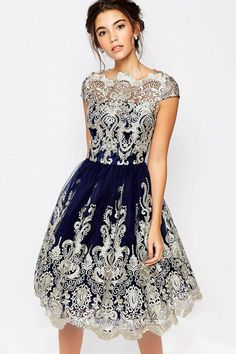 78bbca6b50 Women Lace Crochet Short Sleeve Vintage A Line Party Dress - Dark Blue
