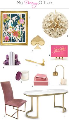 Preciously Me for small shop: My Dreamy Office. 1 / Cozamia art print   2 / Sputnik vintage chandelier   3 / Kate Spade paperweight   4 / Amethyst bookends   5 / Jonathan Adler letter opener   6 / Sugar Paper calendar   7 / Zara Home candle   8 / Pink lacquer boxes   9 / Arterior Jana desk lamp  10 / Milo Baughman vintage chair   11 / White Coco desk