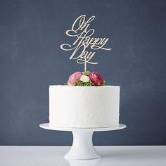 Elegant 'Oh Happy Day' Wooden Wedding Cake Topper