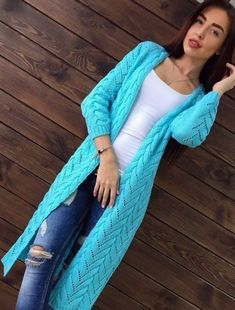 This Pin was discovered by МАР Crochet Coat, Knitted Coat, Crochet Clothes, Knit Cardigan Pattern, Crochet Cardigan, Knit Fashion, Sweater Fashion, Knitting Patterns, Handarbeit