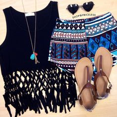 Cute summer outfit by Shop Priceless; Black Crop Top with Aztec Shorts