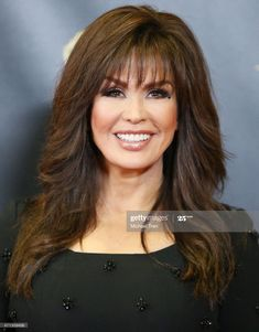 Marie Osmond, Protective Hairstyles, Hairstyles With Bangs, Celebrity Hairstyles, Medium Hair Styles, Curly Hair Styles, Hair Medium, 16 Inch Hair, Long Hair With Bangs