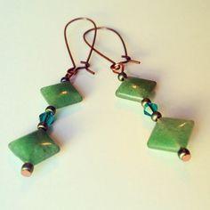Shades of Green Aventurine Gemstone Emerald Green Earrings on Etsy, $18.00