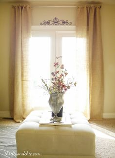 Thrifty and Chic  Burlap curtain s  on the cheap