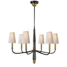 Visual Comfort Thomas O'Brien Farlane Small Chandelier in Hand-Rubbed Antique Brass with Natural Paper Shades diameter Farmhouse Style Kitchen, Modern Farmhouse Kitchens, Chandelier Shades, Chandelier Lighting, Chandeliers, Visual Comfort Lighting, Circa Lighting, Traditional Lighting, Kitchen Styling