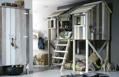 Why not build a tree house inside your child's bedroom? Hinge the front for easy access to change the bed House Beds For Kids, Kid Beds, Bunk Beds, Indoor Tree House, Kids Bedroom, Bedroom Decor, Kids Rooms, Lego Bedroom, Boy Rooms