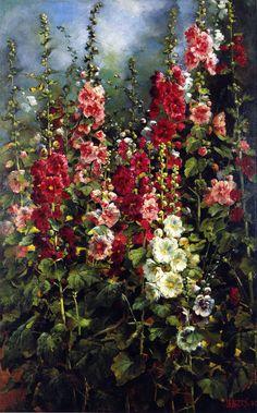 """artsandcrafts28:       Mathias J. Alten - """"Hollyhocks""""     1897     (via rosebiar)"""