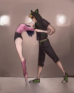 (Break-DanceAU!Miraculous: Tales of Ladybug and Cat Noir) Marinette/Cat Noir