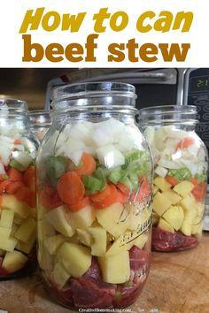 Easy recipe for pressure canning beef stew. Step by step instructions! Can now, and enjoy your delicious beef stew later! One of my favorite canning recipes for beginners. Easy recipe and instructions for canning beef stew with a pressure canner. Canning Soup Recipes, Easy Canning, Canning Tips, Homemade Beef Stew, Easy Beef Stew, Homemade Dry Mixes, Pressure Canning Meat, Pressure Cooking, Canning Food Preservation