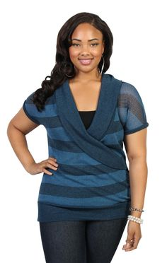 plus size sweater with stripes and banded bottom