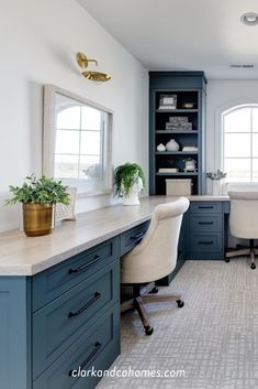 In the bonus room, an alcove houses built-in desks in a rich blue color with plenty of counter space and storage. Office Built Ins, Built In Desk, Office With Two Desks, Office Desks For Home, Desk With Storage, Diy Office Desk, Men Office, Kids Office, Family Office
