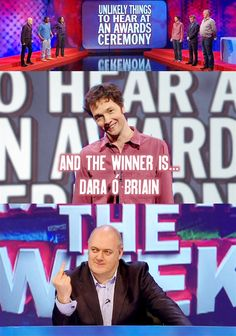 Unlikely things to hear at an awards ceremony | Chris Addison and Dara O'Biain | Mock the Week