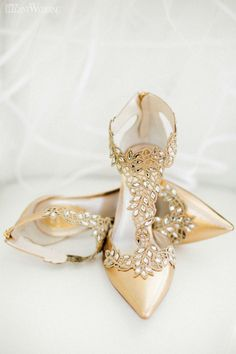Awesome bling and neutral wedding shoes
