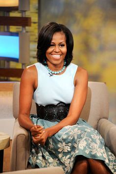 First Lady Michelle Obama talks to Robin Roberts live in Times Square to discuss a variety of topics including her new book American Grown, which promotes healthy eating, on Good Morning America.