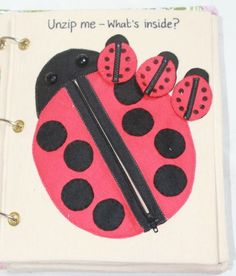 ladybug zipper page for quiet book. Numbers on the back of the lady bugs tha match the number of dots