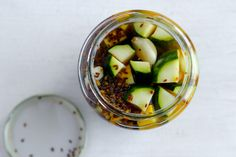 Infused with dill and chile flakes in a vinegary brine, these pickles are not unlike a classic dill in their savory crunch and face-puckering sour.