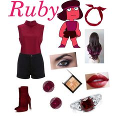 Ruby from Steven Universe by zamantha-palazuelos on Polyvore featuring polyvore, fashion, style, Vero Moda, Miss Selfridge, BERRICLE, Miadora, yunotme, Make and Alaïa