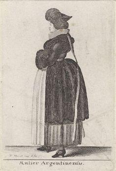 Wenceslaus Hollar | Mulier Argentinensis, Wenceslaus Hollar, 1642 | Vrouw uit Straatsburg, in profiel naar links, met beide handen in een bontmof. Op het hoofd een muts met brede bontrand en eindigend in een punt op het achterhoofd.  Een smalle, vijf lagen dikke plooikraag met sluiting in de nek. Vanaf de nek twee afhangende gevlochten koorden eindigend in een oog, waaraan twee losse linten. Een kort nauwsluitend jak met brede bontkraag en nauwsluitende lange mouwen. Hieronder een rijglijf…