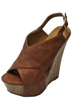 05ce1dec816b Brown Wide Strap High Wedge Heel Womens Pumps · Wedge ShoesPlatform Wedges  ShoesPeep Toe ...