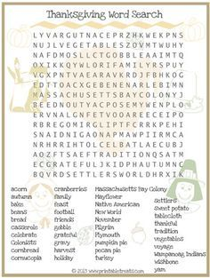 Thanksgiving Word Search for Kids Printable from PrintableTreats.com