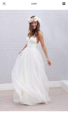 Backless V Neck Wedding Dresses 2016 Beach Wedding Dress Bridal Gown Size 4