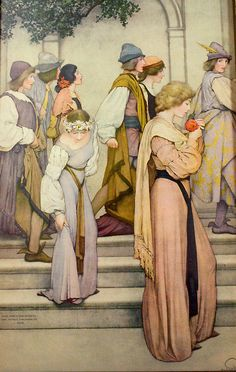 """A Florentine Fete (detail) by Maxfield Parrish, 1910–1916. A Florentine Fete is Parrish's magnum opus, consisting of 18 murals, each 10' 8"""" tall"""
