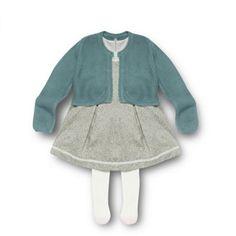 Designer babies light turquoise clover dress, cardigan and tights set at debenhams.com