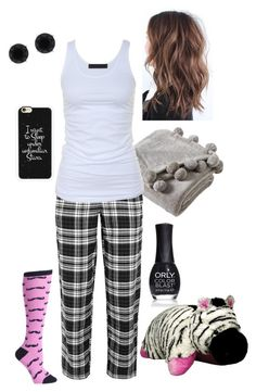 """Pajama Style #8"" by briony-jae ❤ liked on Polyvore featuring ORLY, Casetify, Anne Klein, DKNY, Victoria Classics, Tusnelda Bloch, women's clothing, women, female and woman"