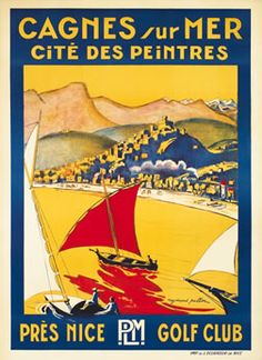 Vintage PLM Travel Poster by Raymond Pallier: Cagnes sur Mer, Nice, France Art Deco Posters, Cool Posters, Poster Prints, Cagnes Sur Mer, Pub Vintage, Beach Posters, Ville France, Travel Brochure, Vintage Typography