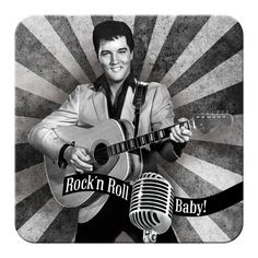 Elvis Rock'n Roll Baby - Drikkeunderlag - METALLSKILT.NO