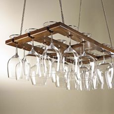 The Wine Enthusiast Oak #Wine Glass Rack adds a stunning visual effect to a room while saving cabinet space.