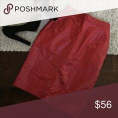 "‼️ FLASH SALE‼️ Vintage Red Leather Pencil Pencil Gorgeous vintage red leather pencil skirt. Like new condition. Suede on reverse with added full satin liner. Zipper in back with metal snap closure. Slit in back. Size on tag: 9/10. This skirt is absolutely beautiful. Waist across measures: 12"". Length: 24"". Stock photos included strictly for style ideas. Dress it up or down. Sizing: the label reads 9/10. I listed it as a medium as there was no option for 9/10, so please see measurements. The…"
