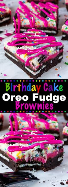 These Birthday Cake Oreo Fudge Brownies are super rich and decadent. Layers of fudgy Birthday Cake Oreo stuffed brownies and Funfetti fudge are topped with more Oreos and plenty of sprinkles. Drizzle these bars with … Fudge Brownies, Oreo Fudge, Pink Brownies Recipe, Köstliche Desserts, Chocolate Desserts, Dessert Recipes, Brownie Desserts, Cake Recipes, Gastronomia