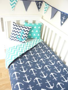 Navy anchor nursery set choose your own colour by MamaAndCub