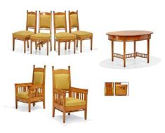 SALONGMØBLEMENT Jugend. Et par armstoler, fire stoler og et ovalt bord. Lys mahogni. Skårne medaljonger med stilisert plantedekor på ryggstolper, armlener og sider.  Sennepsgule trekk. Tidlig 1900-tallet.  ANTALL 7 Outdoor Furniture Sets, Outdoor Decor, Table, Home Decor, Decoration Home, Room Decor, Tables, Home Interior Design, Desk