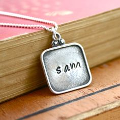 Personalized necklace  Fancy square pendant  by JustJaynes on Etsy, $49.00