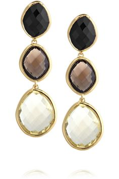 Monica Vinader Nugget 18 Karat Gold Vermeil Multi Stone Earrings