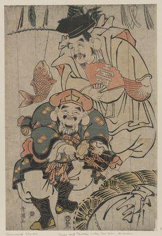 Art Print: Ebisu and Daikaku Celebrating, Japanese Wood-Cut Print by Lantern Press : Japanese Prints, Japanese Design, Japanese Art, Japan Illustration, Japanese Mask Tattoo, Japanese Mythology, Japan Painting, Traditional Japanese Tattoos, Oriental Tattoo