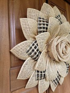 Black White Buffalo plaid Burlap Bow Black White Cabin Check Christmas Topper Bow Black White Buffalo Plaid Bow Christmas Lodge Wreath Bow - Her Crochet Sunflower Burlap Wreaths, Burlap Flowers, Fabric Flowers, Burlap Ribbon, Burlap Crafts, Wreath Crafts, Diy Wreath, Diy Crafts, Burlap Decorations