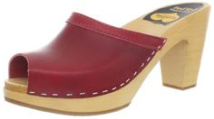 Cool Swedish Hasbeens Women's Grease Clog Sandal, Red, 41 M EU/11 M US
