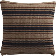 """18"""" The Hill-Side workwear blanket stripe dhurrie pillow with feather-down insert 