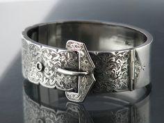 1882 Victorian Buckle Bracelet | Antique Sterling Silver Bracelet | Hinged Silver Cuff | English Silver Hallmark | Belt Buckle Silver Bangle