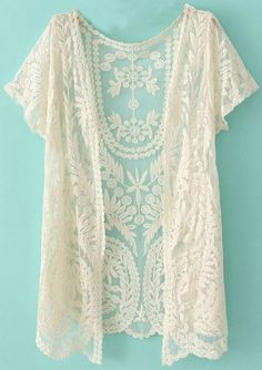White Short Sleeve Crochet Net Lace Cardigan pictures